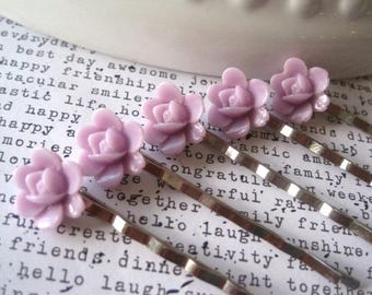 Purple Bobby Pin Set, 5 pc Flower Hairpins, Pale Lilac Hair Accessory, Bridesmaid Gift, Flower Girl, Small Gift, Stocking Stuffer