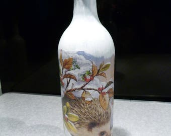 Hedgehog, Upcycled decoupage bottle, cork led lights which can be reomved. Wedding/Birthday/Christmas