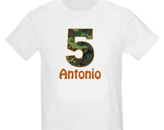 Camo Personalized Birthday Shirt Camoflauge Birthday T-shirt - ANY AGE
