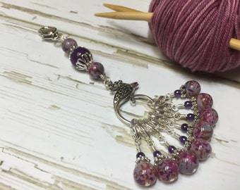 Purple Stitch Marker Set & Lanyard Holder | Removable Markers | Gift