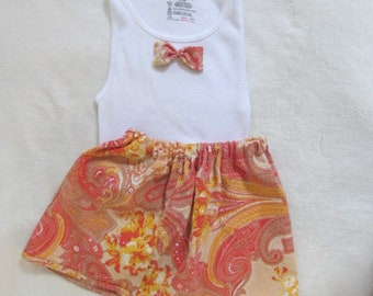 Eco-Friendly Summer Girls size SMALL vintage tank top with custom handmade skater skirt. Orange yellow Paisley