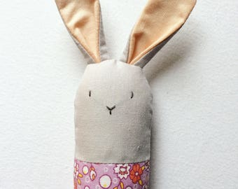 Gray and Purple Floral Bunny Rattle - Soft Baby Toy