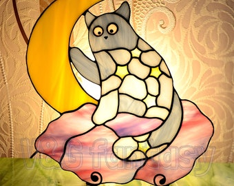 "Stained glass nightlight ""Starlight cat"""