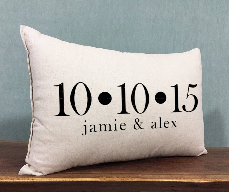 Wedding Date Gift: Personalized Wedding Pillow Custom Names And Wedding Date