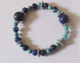Child in sodalite, lapis lazuli and turquoise bracelet
