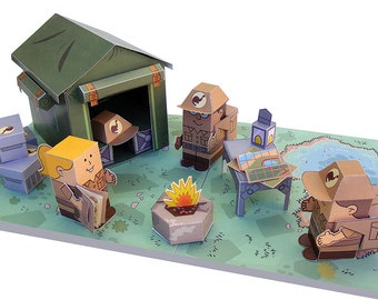 Dino MiniWorld paper toys - The Camp. Cut, assemble and play. Instant download.