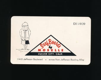 Vintage 1960's Surfboards by Moselle Surfing Business Card - Advertising Card - Culver City, CA