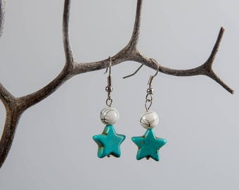 Turquoise Star Dangle Earrings, Star Drop Earrings, Valentines Gift, Girlfriend Gift, Charity Earrings, Charity Donation