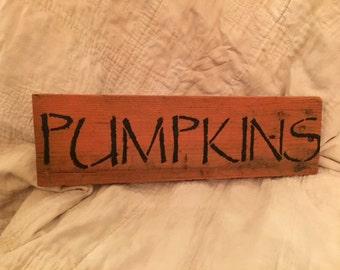Primitive Pumpkin Wooden Halloween Sign