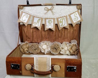 Burlap and Lace Suitcase Wedding card holder