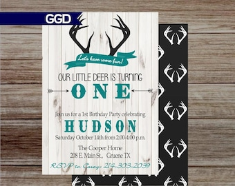 Rustic deer first birthday party invitation with photo wood rustic deer first birthday party invitation wood invitation boys first birthday little buck 1st birthday rustic boys first birthday filmwisefo
