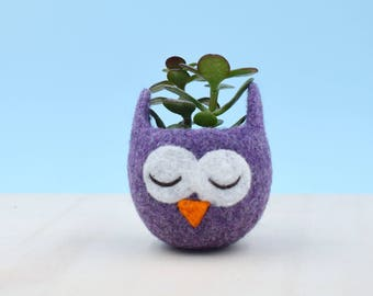 Owl lover / succulent planter / mini planter / birthday gift / cactus vase / plant pot / housewarming gift / cute cactus planter