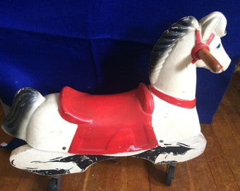 Vintage Train Rite Riding Horse with Wheels