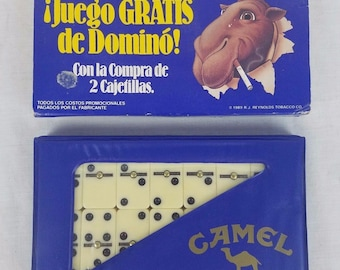Joe Camel Cigarette Set of Dominoes Carrying Case 1989 NIB Spanish Cover