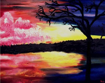 Oil Painting Evening Reflections Print