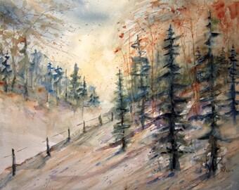 Landscape, Print of Original Watercolor Painting, watercolor art, landscape autumn painting, fall woods watercolor artwork.