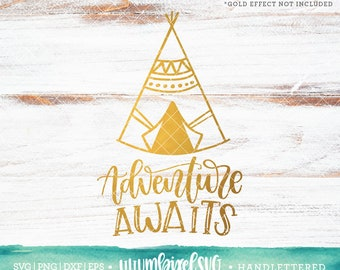 Adventure Awaits Svg / Camper SVG Cut Files / Camping Svg Cutting Files / Travel SVG Files Sayings