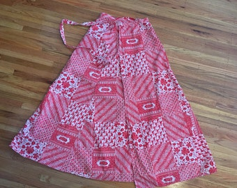 1970's Indian block print skirt ~ vintage cotton wrap skirt ~ maxi length summer skirt
