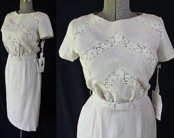 50s 60s Minx Modes Dress, Deadstock, Wiggle Dress, Linen, Lace Sheath Skirt