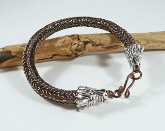 Dragon Bracelet, Viking Knit Bracelet, For Him, Viking Jewellery, Wirework Bracelet, Copper, Viking Cosplay, SMALL, Fantasy, Woven Bracelet