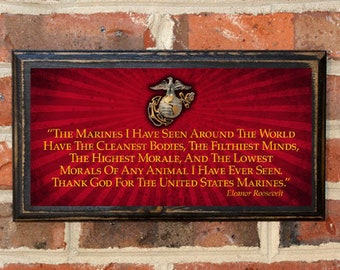 US Marine Corps Thank God for the United States Marines Eleanor Roosevelt Wall Art Sign Plaque Gift Present Vintage USMC Semper Fi Antique