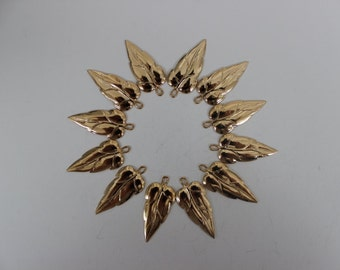 Set of Twelve Small Gold Plated Leaf Findings