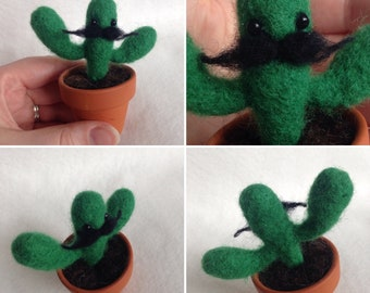 Small Cactus with Moustache Soft Sculpture Gift