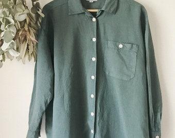 Forest Green Linen Button Up Shirt