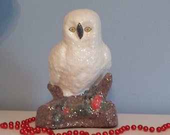 "White Snow Owl Paper Mache Christmas 7"" Tall Glittered Figurine Vintage Style Holly Accent Winter Decor ShabbyChic Farmhouse 1930s Christmas"