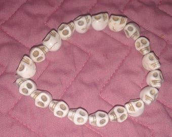 White Skull Gothic Bracelet