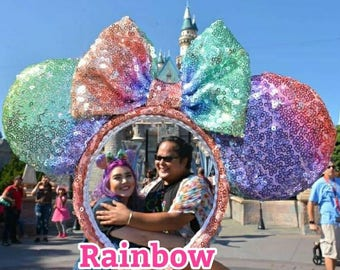 Unicorn Rainbow Sequin Minnie ears