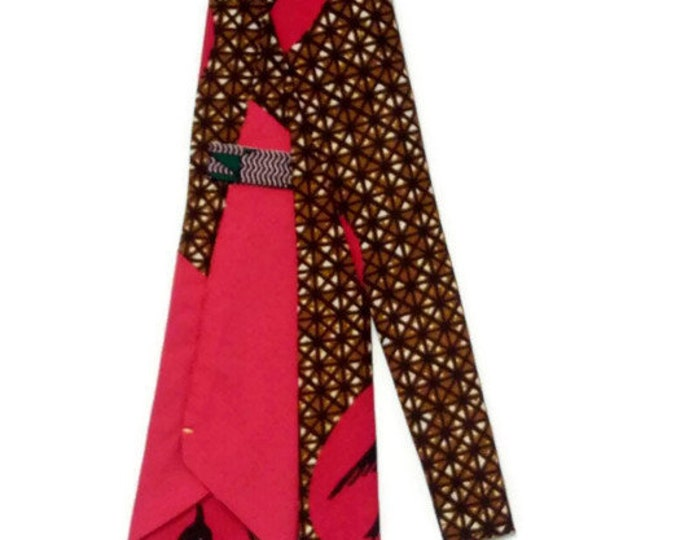 Brown And Rose Pink Geometric Necktie With Pocket Square, Handmade Mens African Clothing, Gift For Him, Teen Dad Wedding Graduation