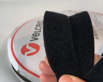 1m x 25mm Velcro Brand LOOP touch tape, Black, straps, horse rugs, bag making