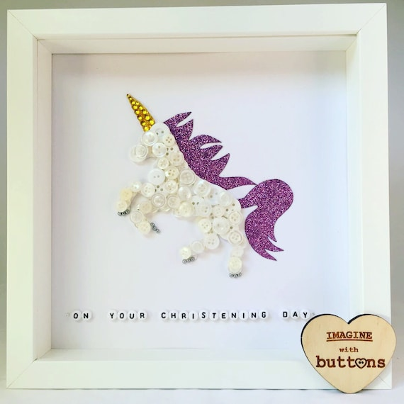 Unicorn Button Art Frame from Imaginewithbuttons on Etsy Studio