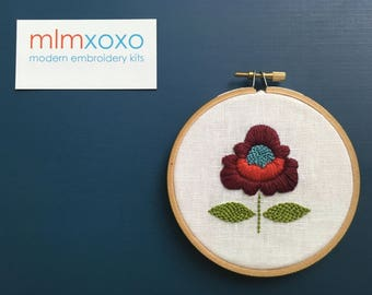 "Embroidery KIT by mlmxoxo.  Boho Chic Flower.  modern embroidery kit.  diy needlework.  floral.  botanical. 4"" hoop art hand embroidery kit."