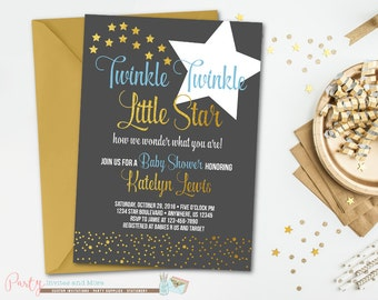 Twinkle Twinkle Little Star Baby Shower Invitation, Star Baby Shower Invitation, Baby Shower Invitation, Boy Baby Shower Invitation
