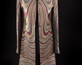 Women's Abstract Print Deco Cashmere Smart Nehru Collar Coat