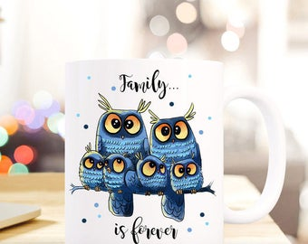 Gift coffee cup owls family of forever TS408