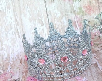 Sweet Heart Silver Newbirn Crown Infant Crown Girl Newborn Prop