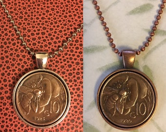 Vintage Pre-War Italian Copper Honey Bee Coin Pendant Necklace with Copper or Silver Bezel and Copper or Stainless Steel Ball Chain