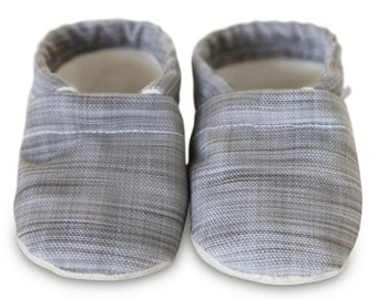 ORGANIC gray baby shoes, gray baby shoes, gray linen vegan baby shoes, organic baby shoes, linen moccasins