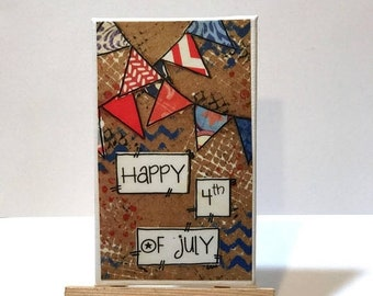 FIVE YEAR SALE Happy 4th of July, Red, White and blue, Print and Easel Set, Mounted Print, Patriotic decor, Usa
