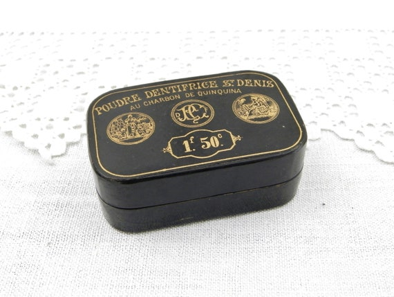 Rare Antique French Victorian Toothpaste Box, Black Carton Boulli Dentifrice St Denis au Charbon de Quinquina from France, Vintage Chemist