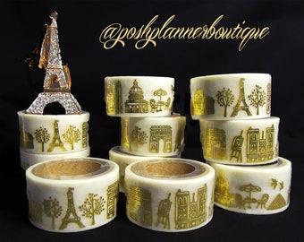 Gorgeous Gold Foil & White Travel Themed Washi Tape