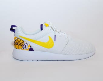Custom Los Angeles Lakers Nike Shoes handmade edition w/ custom insoles  available in all sizes