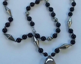 Dauplaise.   Black and Silver Costume Necklace.  (517)