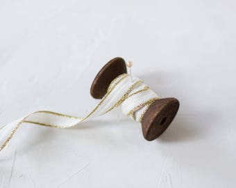 """Natural + Gold Metallic Edge Drittofilo Cotton Ribbon (with Wooden Spool) - 5 yards - 3/8"""" wide"""