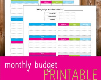 cute monthly budget template