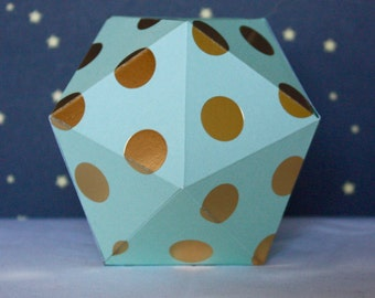 Christmas paper ornament - Mint and golden dots