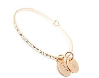 Inspirational Message Skinny Bangle | Dainty Mantra Bangle | Quote Stacking Bangles | Gift for Her | Gifts Under 15 | Engraved Bangle